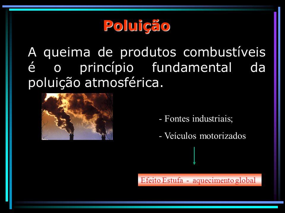 Poluição A queima de produtos combustíveis é o princípio fundamental da poluição atmosférica. - Fontes industriais; - Veículos motorizados Efeito Estu
