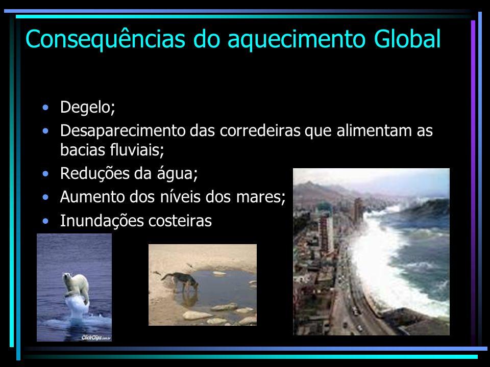 Consequências do aquecimento Global Degelo; Desaparecimento das corredeiras que alimentam as bacias fluviais; Reduções da água; Aumento dos níveis dos