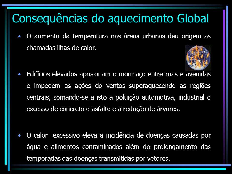 Consequências do aquecimento Global O aumento da temperatura nas áreas urbanas deu origem as chamadas ilhas de calor. Edifícios elevados aprisionam o