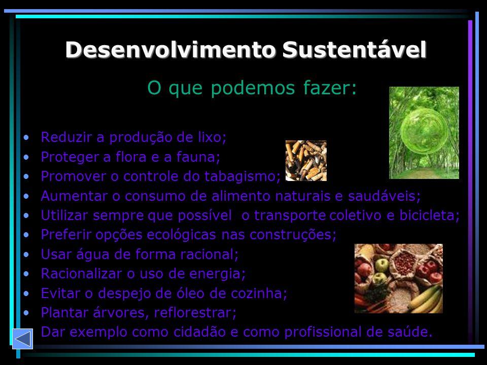 O que podemos fazer: Reduzir a produção de lixo; Proteger a flora e a fauna; Promover o controle do tabagismo; Aumentar o consumo de alimento naturais