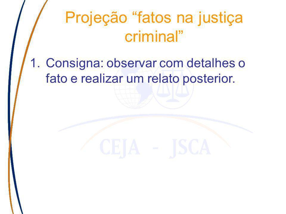 Projeção fatos na justiça criminal 1.Consigna: observar com detalhes o fato e realizar um relato posterior.