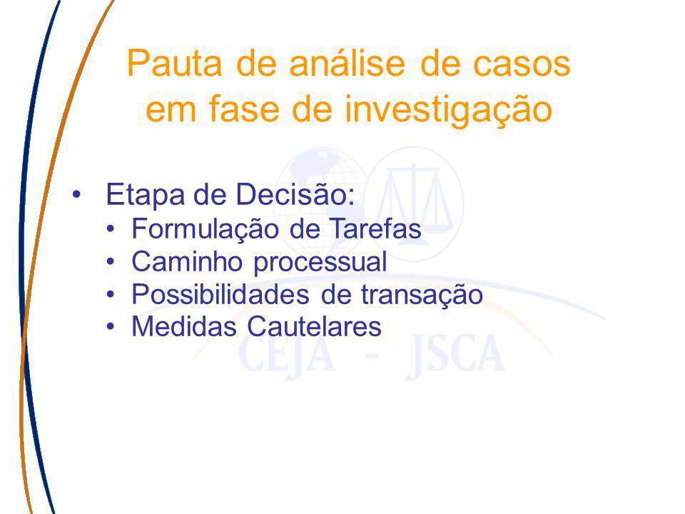 Etapa de Decisão: Formulação de Tarefas Caminho processual Possibilidades de transação Medidas Cautelares Pauta de análise de casos em fase de investigação