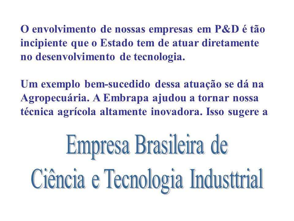 O envolvimento de nossas empresas em P&D é tão incipiente que o Estado tem de atuar diretamente no desenvolvimento de tecnologia. Um exemplo bem-suced