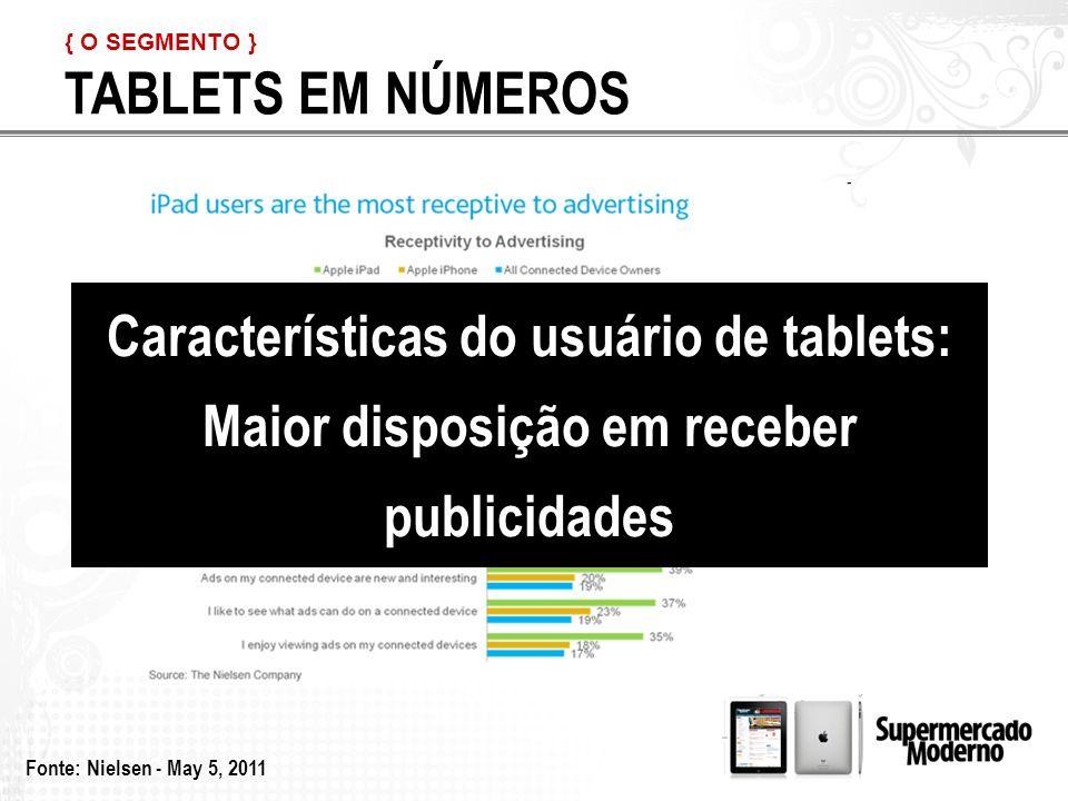 TABLETS EM NÚMEROS { O SEGMENTO } Fonte: Nielsen - May 5, 2011 Características do usuário de tablets: Maior disposição em receber publicidades