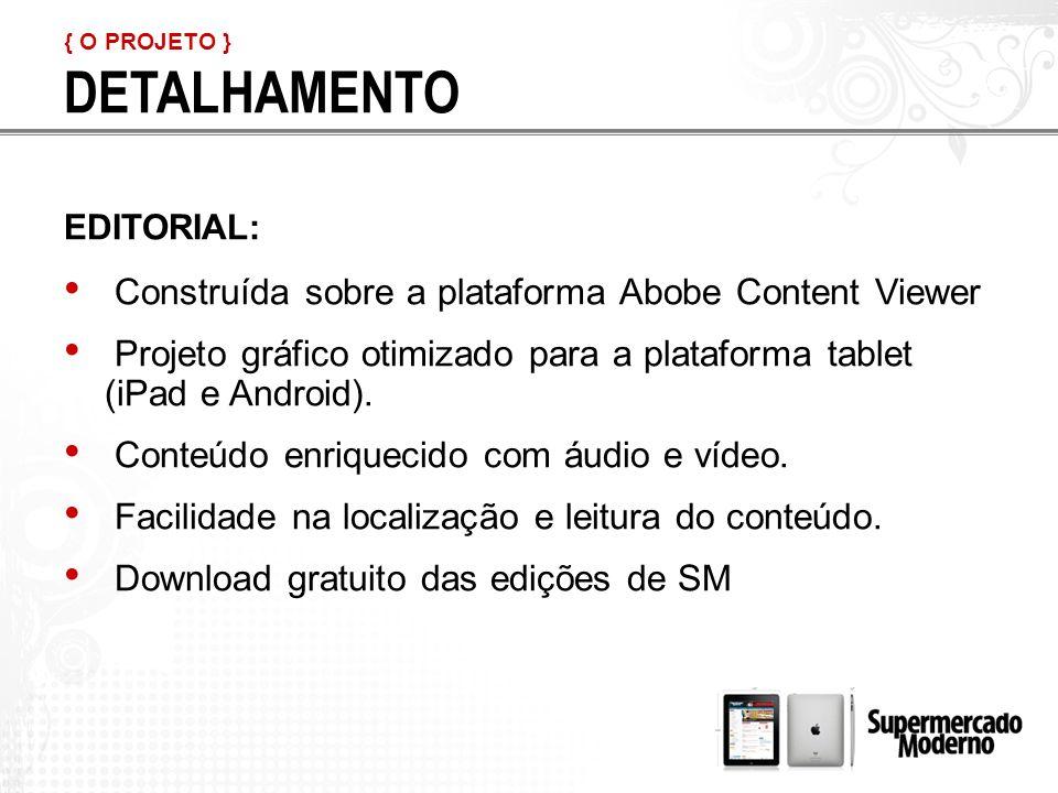 EDITORIAL: Construída sobre a plataforma Abobe Content Viewer Projeto gráfico otimizado para a plataforma tablet (iPad e Android).