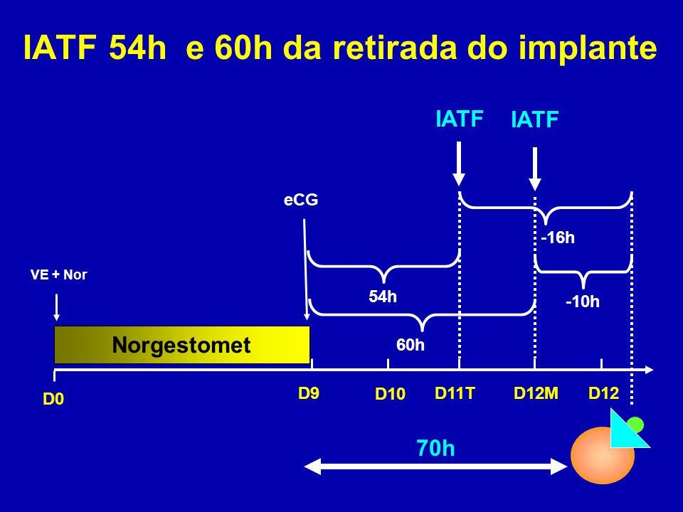 60h Norgestomet IATF 54h e 60h da retirada do implante 70h IATF D0 D9 VE + Nor eCG D10 D11T D12 D12M -16h -10h 54h