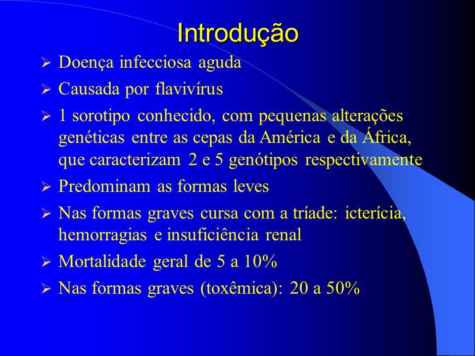 Introdução Doença infecciosa aguda Causada por flavivírus 1 sorotipo conhecido, com pequenas alterações genéticas entre as cepas da América e da Áfric