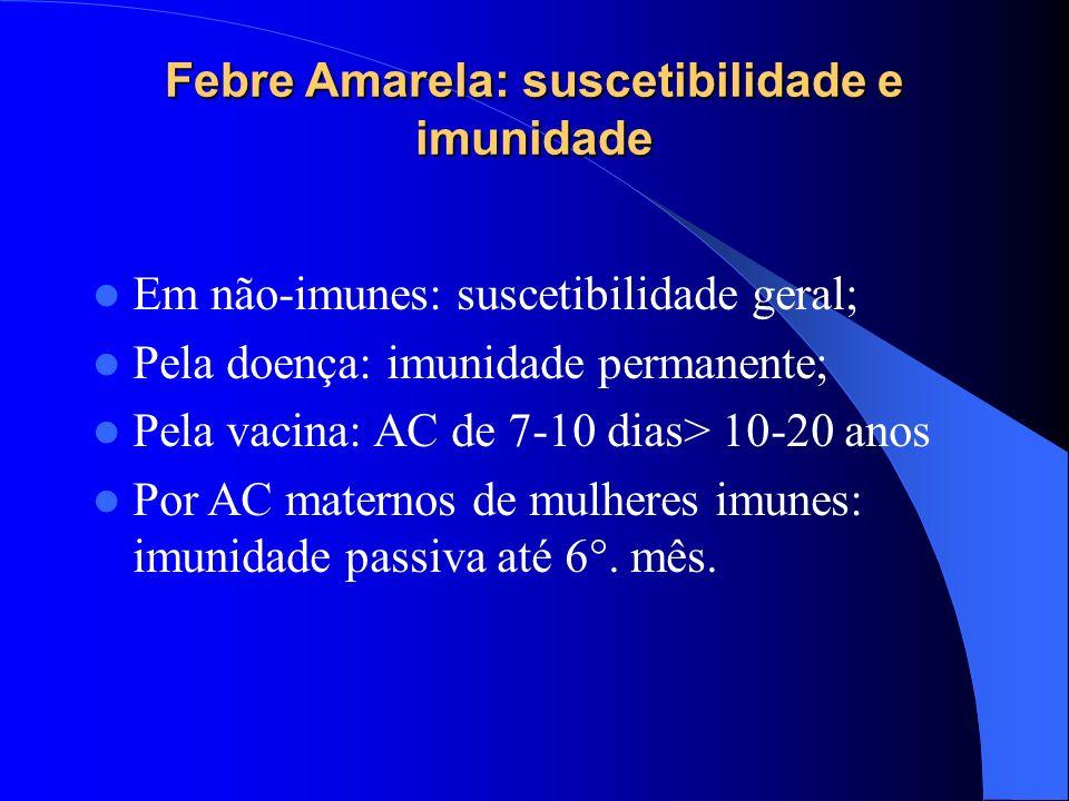 Febre Amarela: suscetibilidade e imunidade Em não-imunes: suscetibilidade geral; Pela doença: imunidade permanente; Pela vacina: AC de 7-10 dias> 10-2