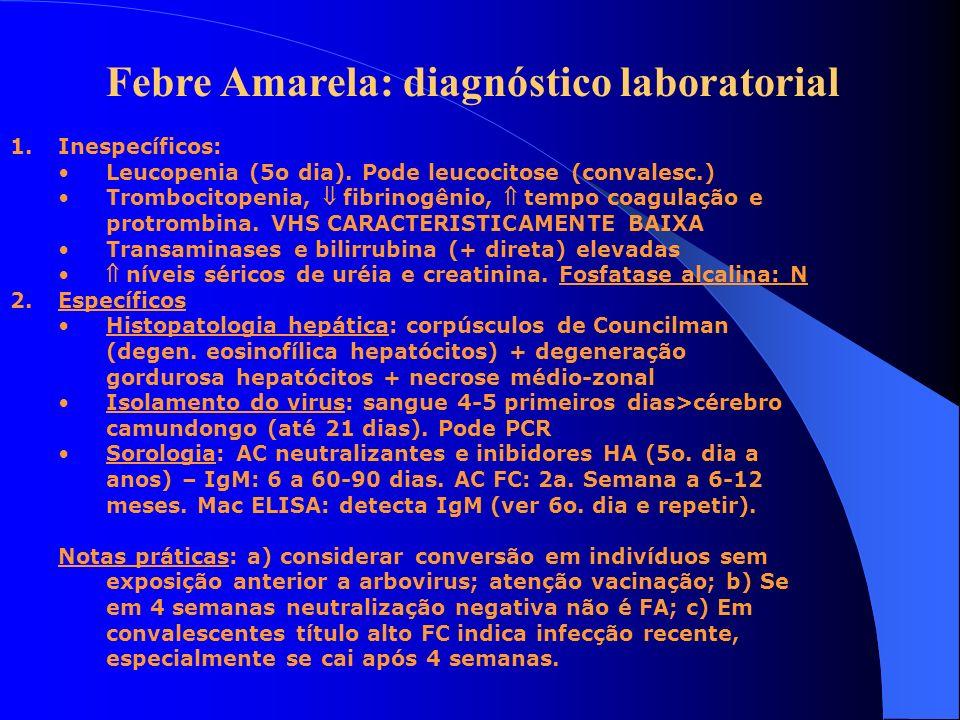 Febre Amarela: diagnóstico laboratorial 1.Inespecíficos: Leucopenia (5o dia). Pode leucocitose (convalesc.) Trombocitopenia, fibrinogênio, tempo coagu