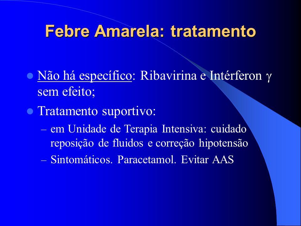 Febre Amarela: tratamento Não há específico: Ribavirina e Intérferon sem efeito; Tratamento suportivo: – em Unidade de Terapia Intensiva: cuidado repo