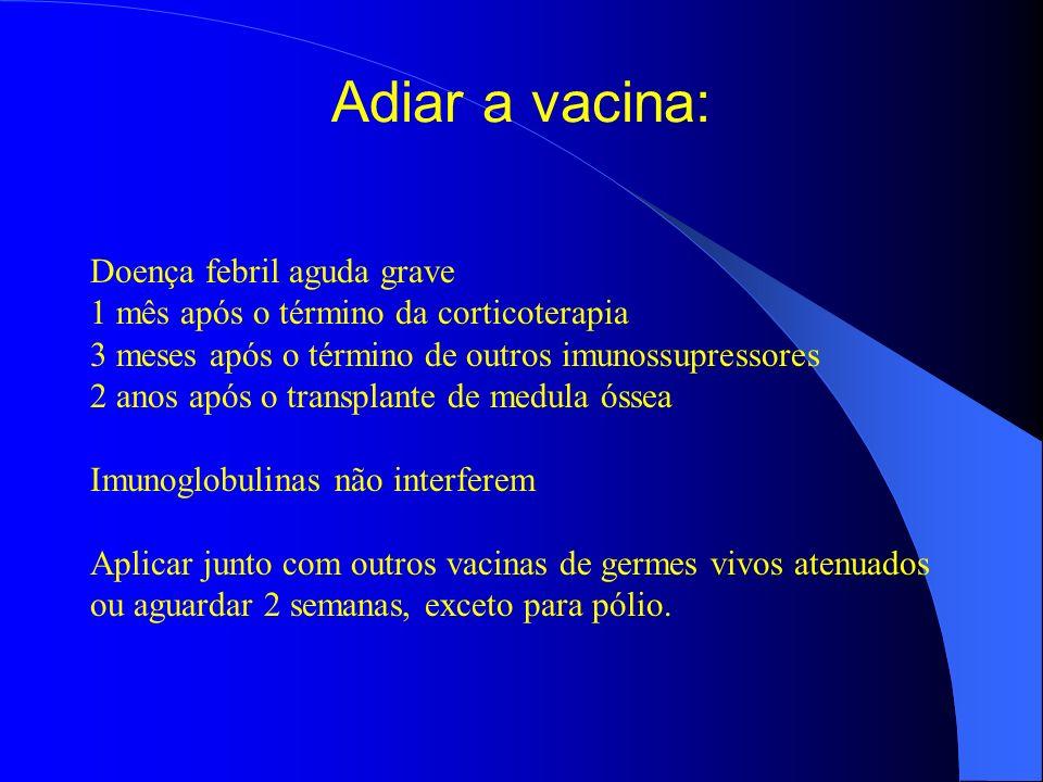 Adiar a vacina: Doença febril aguda grave 1 mês após o término da corticoterapia 3 meses após o término de outros imunossupressores 2 anos após o tran