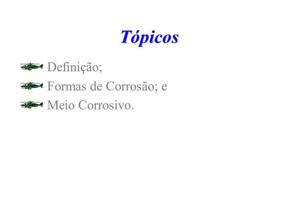 Tópicos Definição; Formas de Corrosão; e Meio Corrosivo.