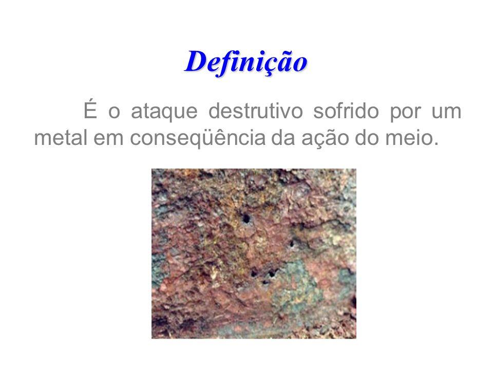 Definição É o ataque destrutivo sofrido por um metal em conseqüência da ação do meio.
