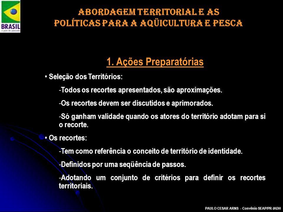 PAULO CESAR ARNS - Convênio SEAP/PR-IADH 1. Ações Preparatórias Seleção dos Territórios: - Todos os recortes apresentados, são aproximações. - Os reco