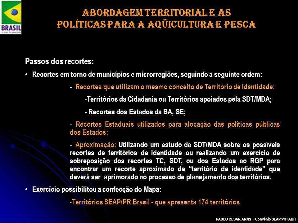 PAULO CESAR ARNS - Convênio SEAP/PR-IADH Passos dos recortes: Recortes em torno de municípios e microrregiões, seguindo a seguinte ordem: - Recortes q