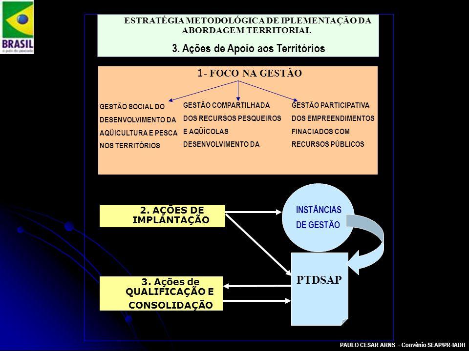 PAULO CESAR ARNS - Convênio SEAP/PR-IADH ESTRATÉGIA METODOLÓGICA DE IPLEMENTAÇÃO DA ABORDAGEM TERRITORIAL 3. Ações de Apoio aos Territórios 1 - FOCO N