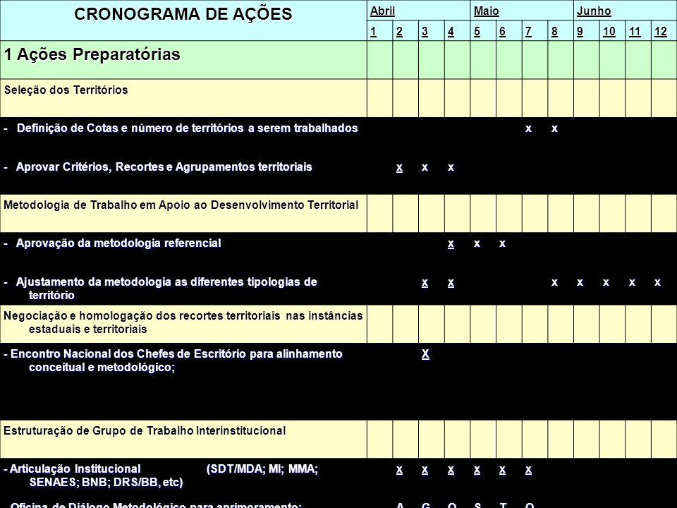 PAULO CESAR ARNS - Convênio SEAP/PR-IADH CRONOGRAMA DE AÇÕES AbrilMaioJunho 123456789101112 1 Ações Preparatórias Seleção dos Territórios - Definição