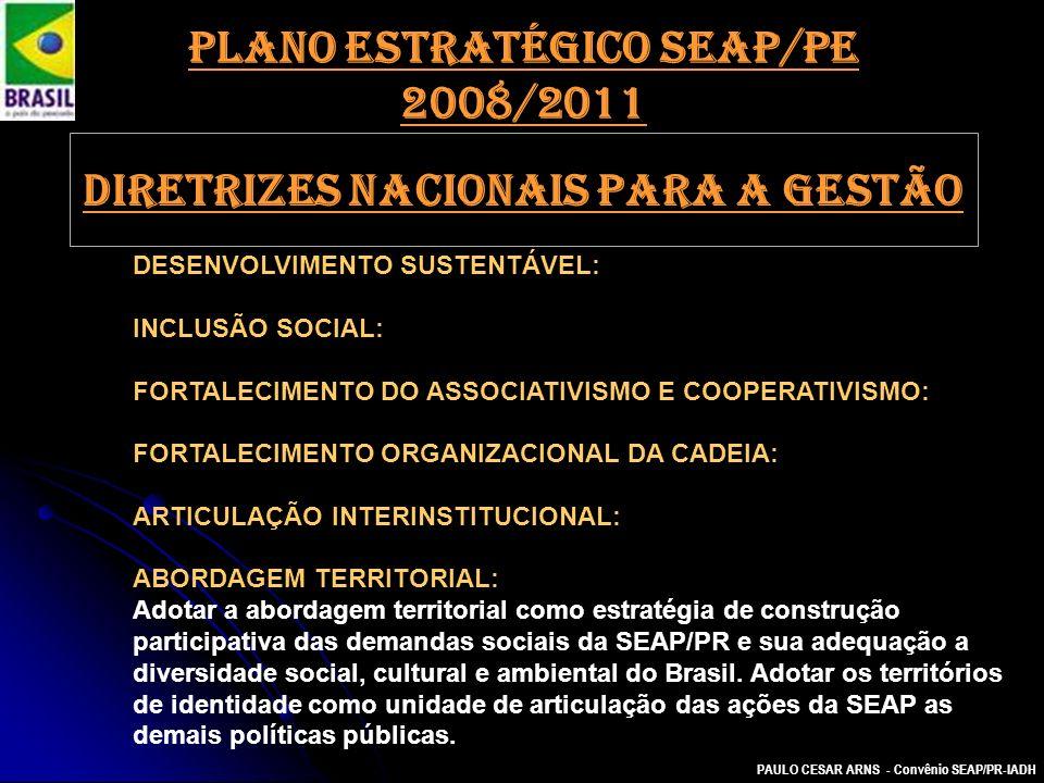 PAULO CESAR ARNS - Convênio SEAP/PR-IADH DESENVOLVIMENTO SUSTENTÁVEL: INCLUSÃO SOCIAL: FORTALECIMENTO DO ASSOCIATIVISMO E COOPERATIVISMO: FORTALECIMEN
