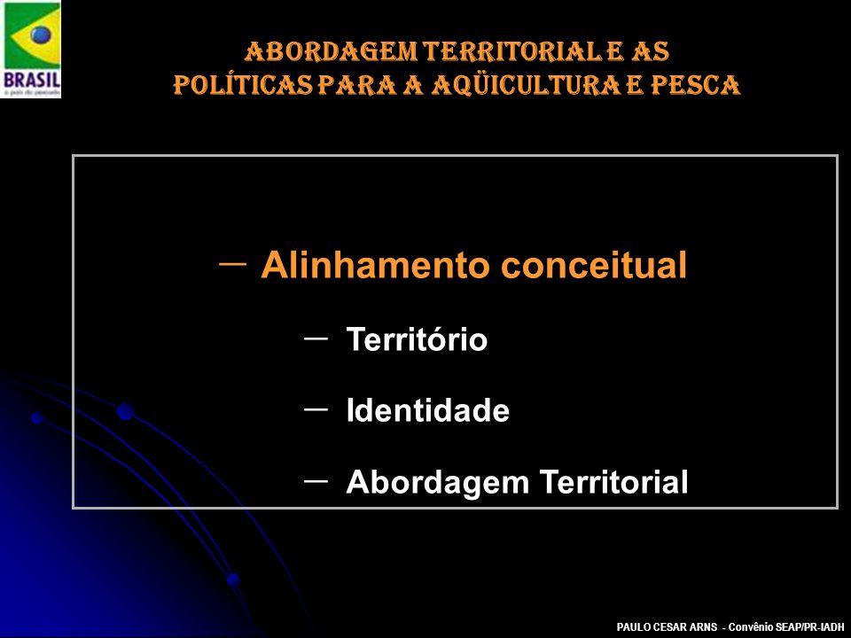 PAULO CESAR ARNS - Convênio SEAP/PR-IADH ABORDAGEM TERRITORIAL E AS POLÍTICAS PARA A AQÜICULTURA E PESCA Alinhamento conceitual Território Identidade