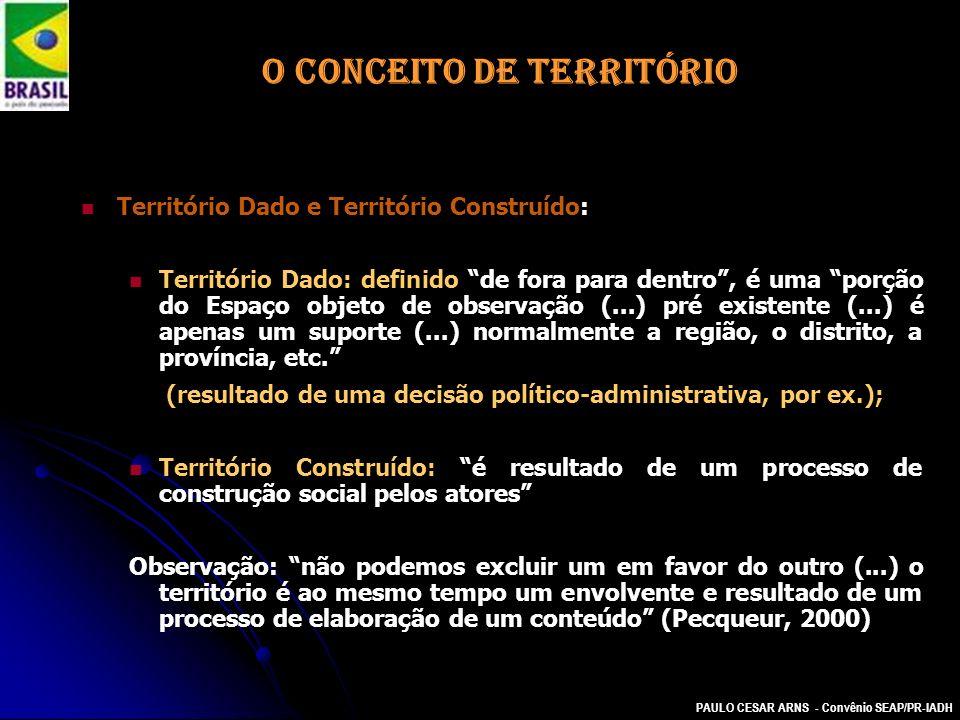 PAULO CESAR ARNS - Convênio SEAP/PR-IADH O CONCEITO DE TERRITÓRIO Território Dado e Território Construído: Território Dado: definido de fora para dent