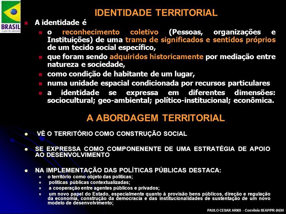 PAULO CESAR ARNS - Convênio SEAP/PR-IADH A ABORDAGEM TERRITORIAL VÊ O TERRITÓRIO COMO CONSTRUÇÃO SOCIAL SE EXPRESSA COMO COMPONENENTE DE UMA ESTRATÉGI