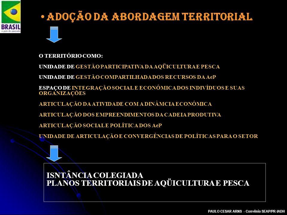 PAULO CESAR ARNS - Convênio SEAP/PR-IADH Adoção da abordagem territorial O TERRITÓRIO COMO: UNIDADE DE GESTÃO PARTICIPATIVA DA AQÜICULTURA E PESCA UNI