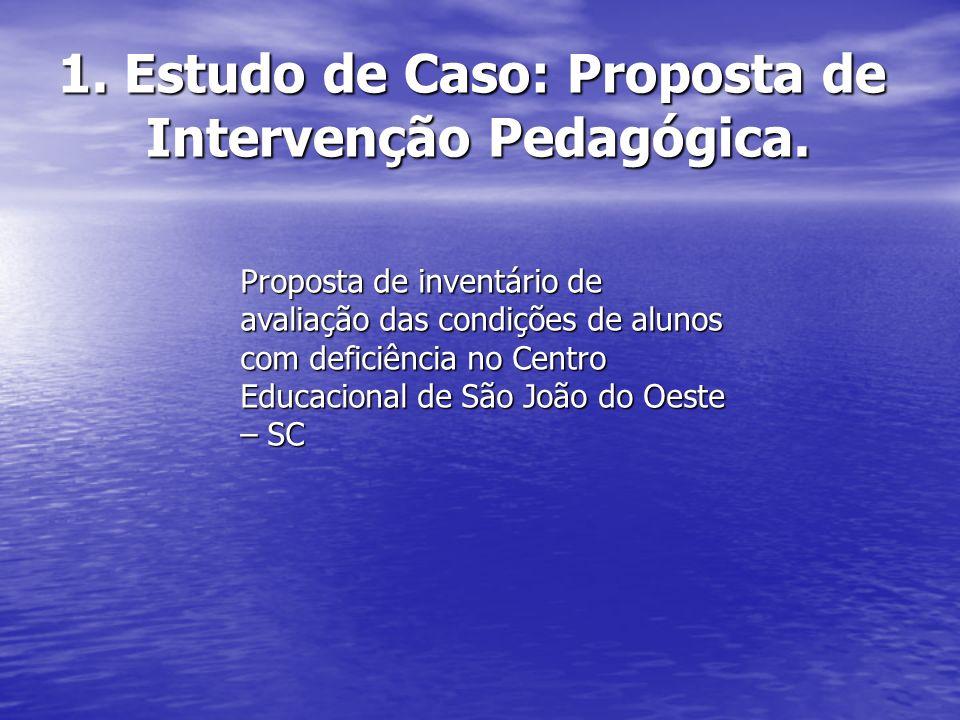 1. Estudo de Caso: Proposta de Intervenção Pedagógica. Proposta de inventário de avaliação das condições de alunos com deficiência no Centro Educacion