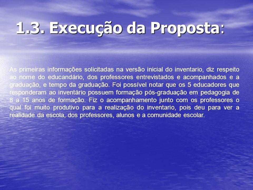 1.3. Execução da Proposta: As primeiras informações solicitadas na versão inicial do inventario, diz respeito ao nome do educandário, dos professores