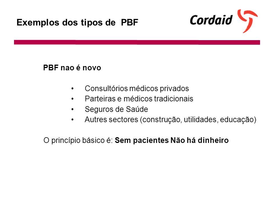 Exemplos dos tipos de PBF PBF nao é novo Consultórios médicos privados Parteiras e médicos tradicionais Seguros de Saúde Autres sectores (construção, utilidades, educação) O princípio básico é: Sem pacientes Não há dinheiro