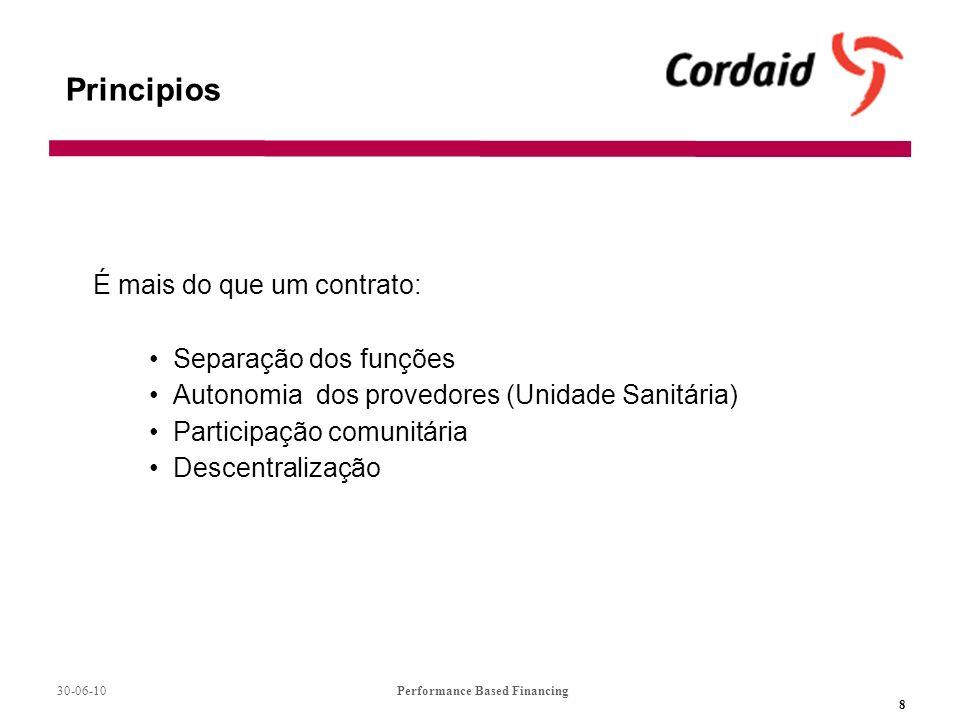 30-06-10Performance Based Financing 8 Principios É mais do que um contrato: Separação dos funções Autonomia dos provedores (Unidade Sanitária) Participação comunitária Descentralização