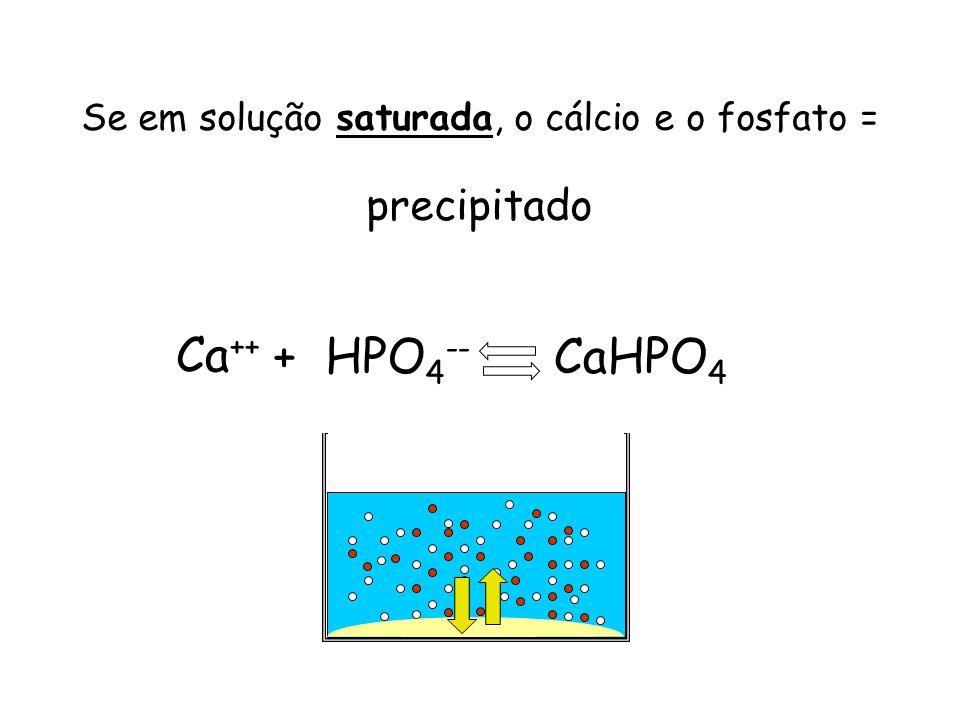 Se em solução saturada, o cálcio e o fosfato = precipitado Ca ++ + HPO 4 -- CaHPO 4