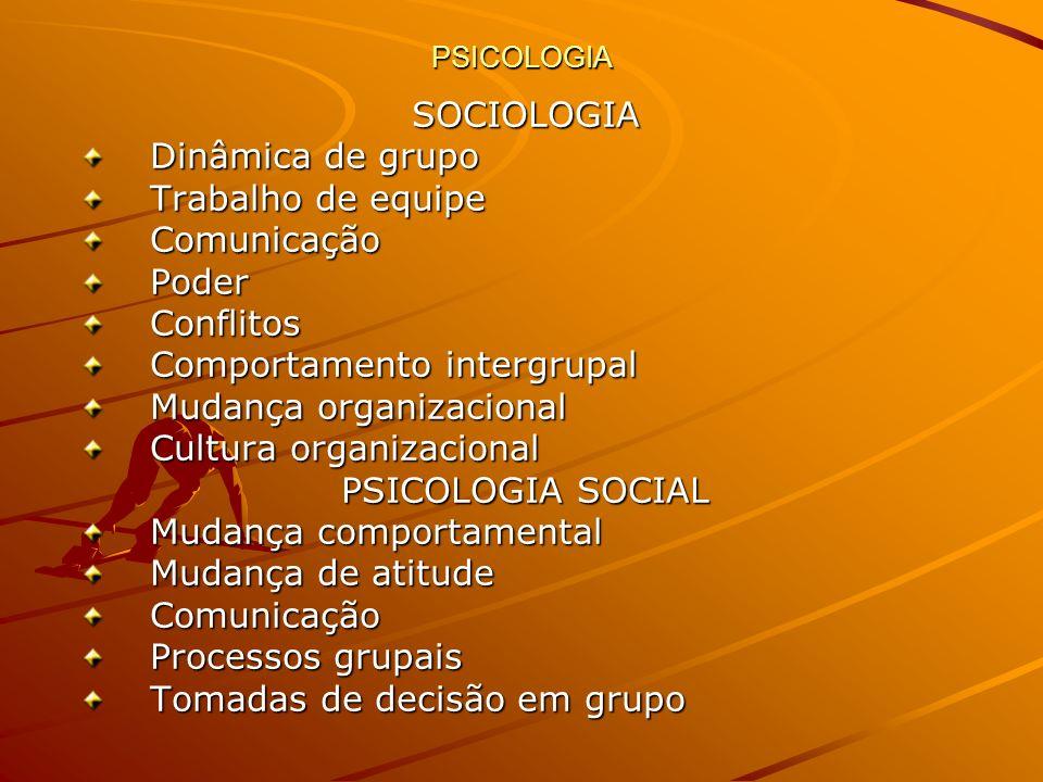PSICOLOGIA SOCIOLOGIA Dinâmica de grupo Trabalho de equipe ComunicaçãoPoderConflitos Comportamento intergrupal Mudança organizacional Cultura organiza