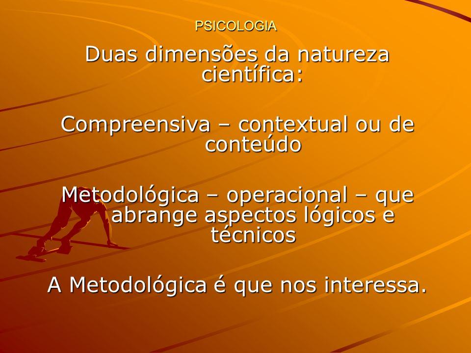 PSICOLOGIA Duas dimensões da natureza científica: Compreensiva – contextual ou de conteúdo Metodológica – operacional – que abrange aspectos lógicos e