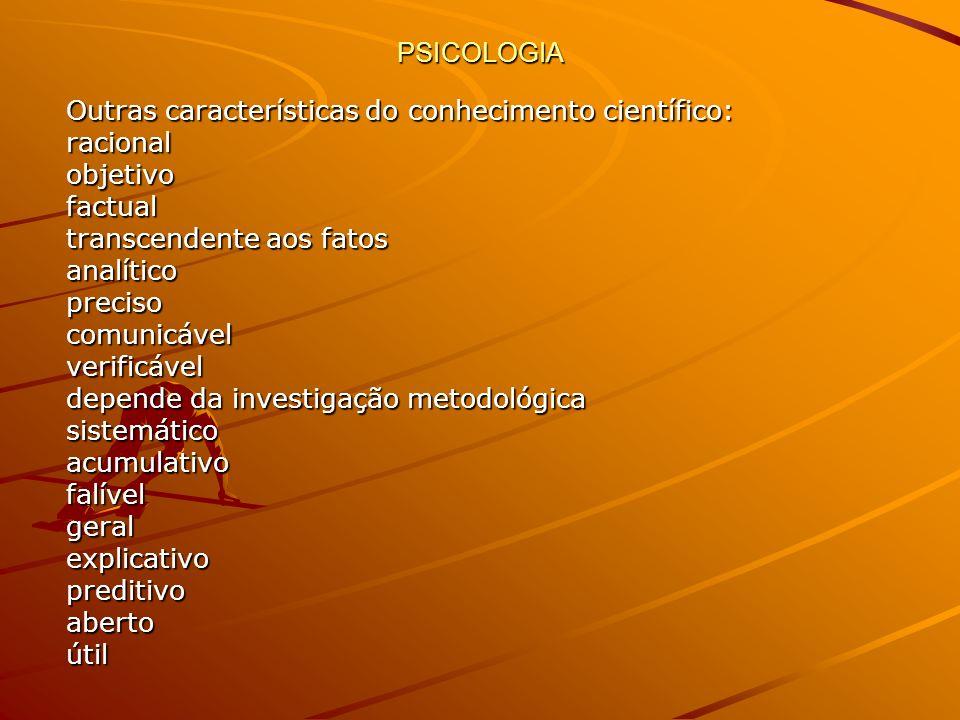 PSICOLOGIA Outras características do conhecimento científico: racionalobjetivofactual transcendente aos fatos analíticoprecisocomunicávelverificável d