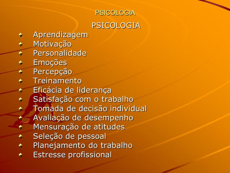 PSICOLOGIA PSICOLOGIAAprendizagemMotivaçãoPersonalidadeEmoçõesPercepçãoTreinamento Eficácia de liderança Satisfação com o trabalho Tomada de decisão i