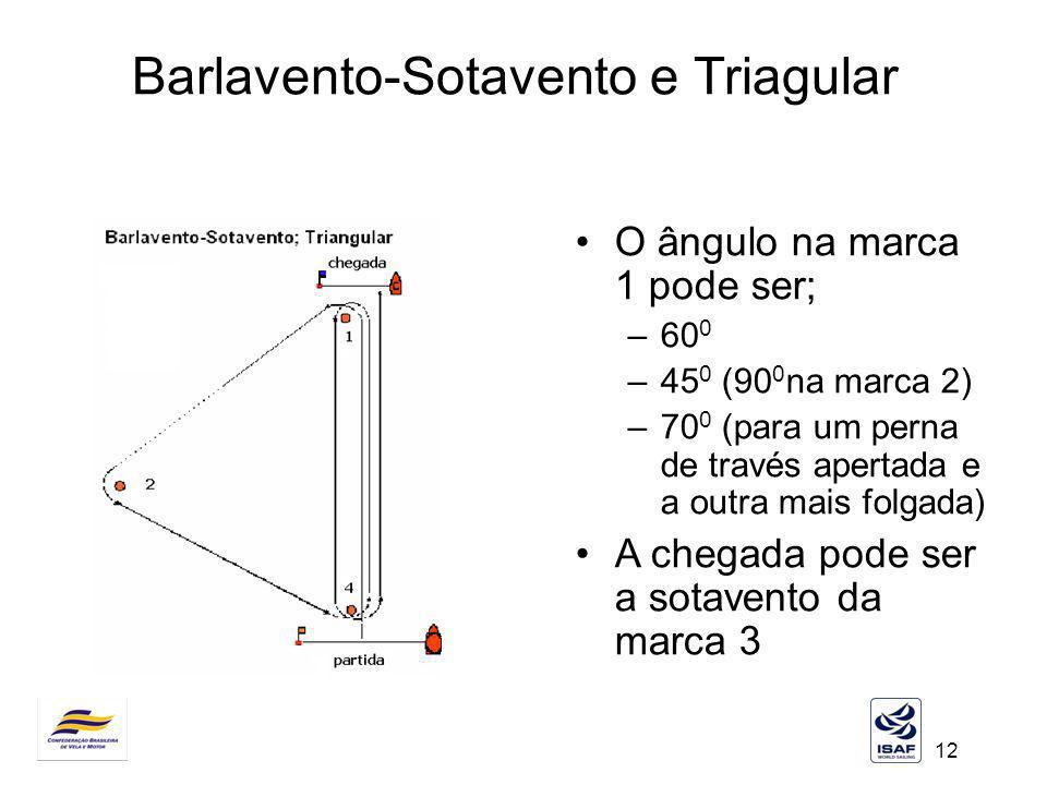 12 Barlavento-Sotavento e Triagular O ângulo na marca 1 pode ser; –60 0 –45 0 (90 0 na marca 2) –70 0 (para um perna de través apertada e a outra mais
