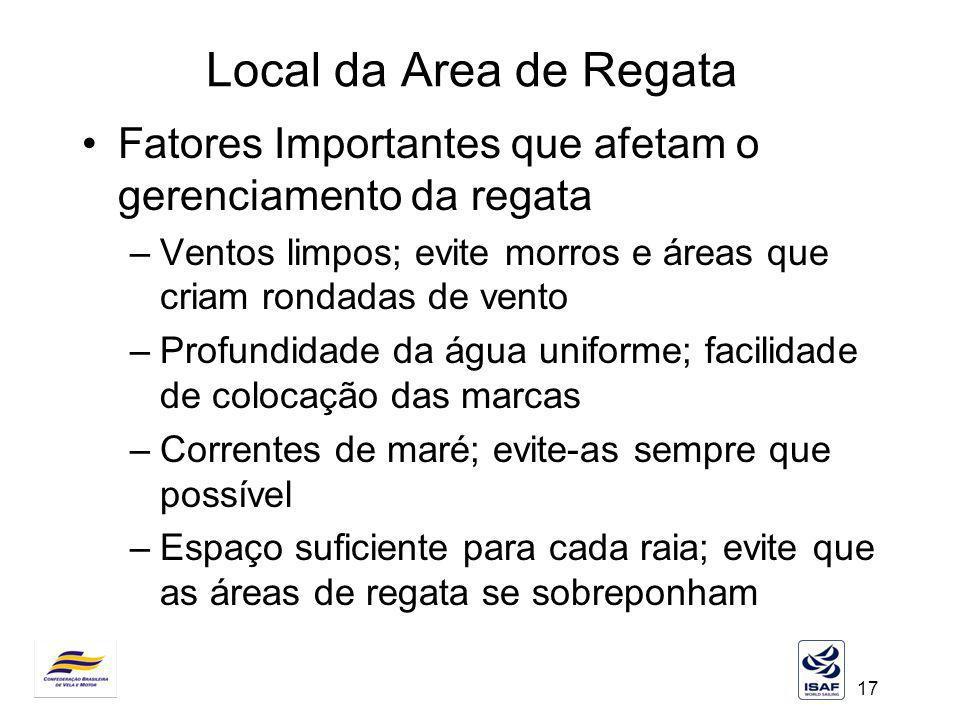17 Local da Area de Regata Fatores Importantes que afetam o gerenciamento da regata –Ventos limpos; evite morros e áreas que criam rondadas de vento –