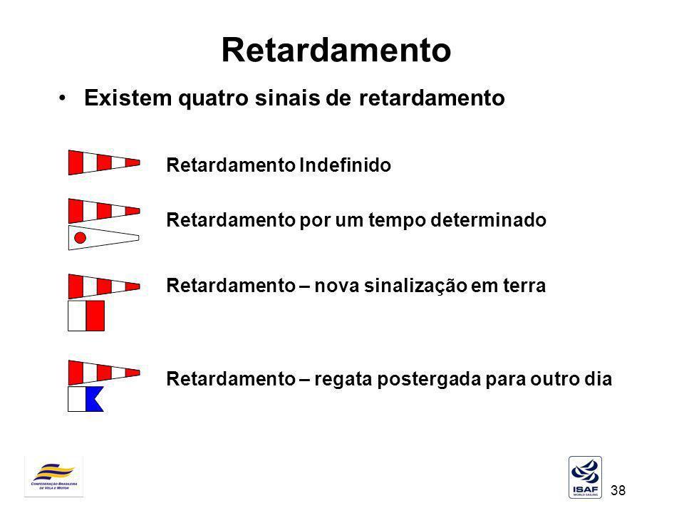 38 Retardamento Existem quatro sinais de retardamento Retardamento Indefinido Retardamento por um tempo determinado Retardamento – nova sinalização em