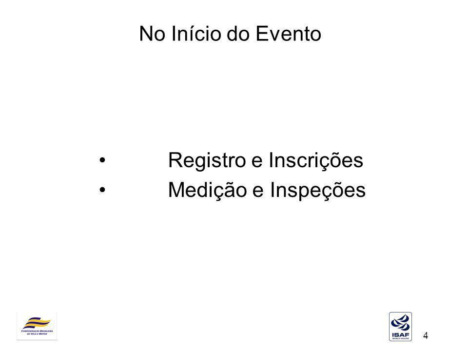 4 No Início do Evento Registro e Inscrições Medição e Inspeções