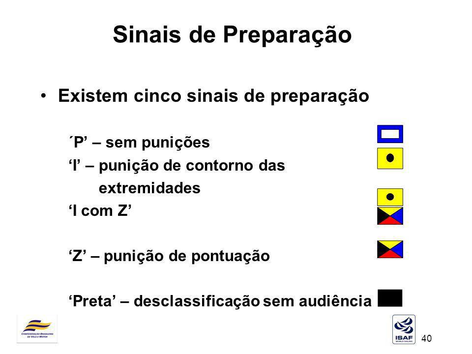 40 Sinais de Preparação Existem cinco sinais de preparação ´P – sem punições I – punição de contorno das extremidades I com Z Z – punição de pontuação