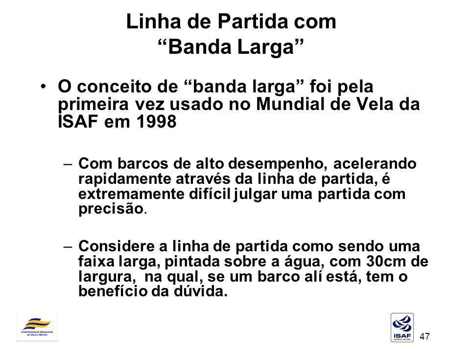 47 Linha de Partida com Banda Larga O conceito de banda larga foi pela primeira vez usado no Mundial de Vela da ISAF em 1998 –Com barcos de alto desem