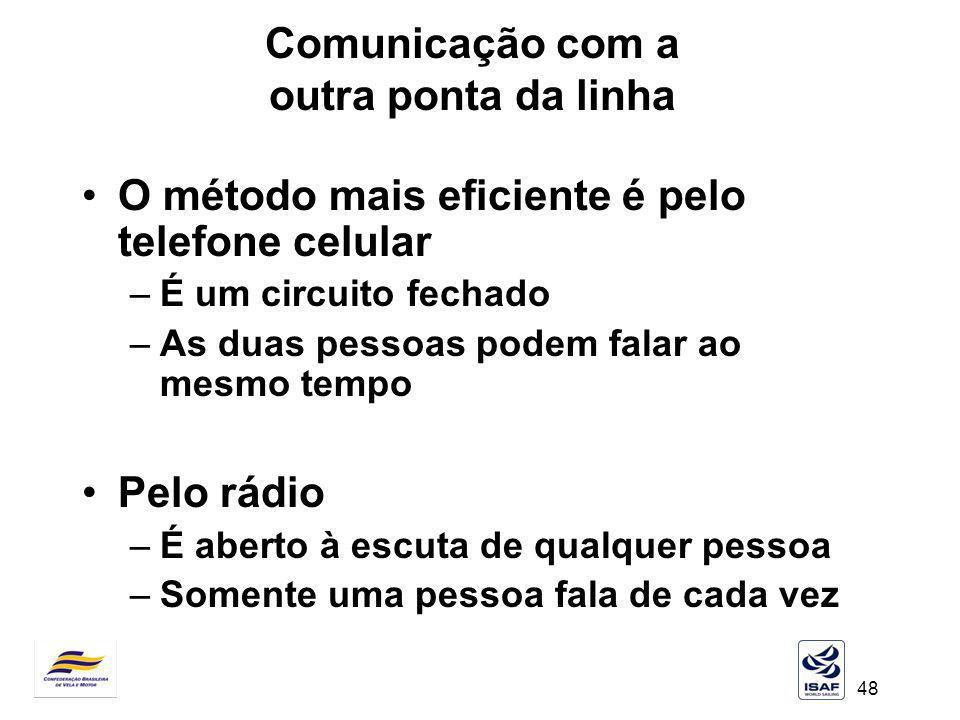 48 Comunicação com a outra ponta da linha O método mais eficiente é pelo telefone celular –É um circuito fechado –As duas pessoas podem falar ao mesmo