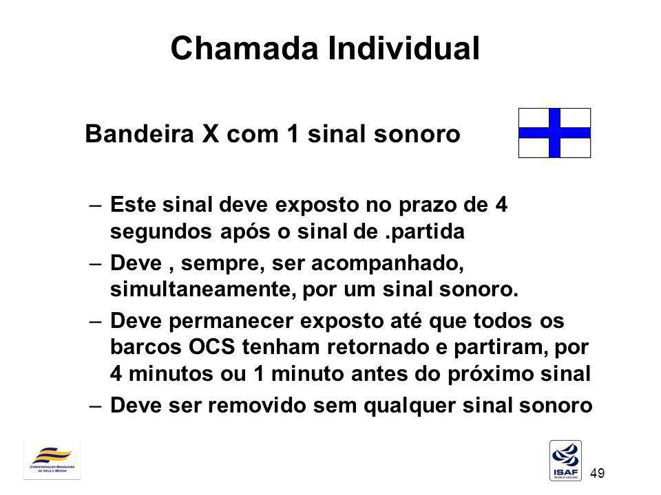 49 Chamada Individual Bandeira X com 1 sinal sonoro –Este sinal deve exposto no prazo de 4 segundos após o sinal de.partida –Deve, sempre, ser acompan