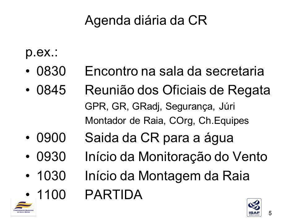 5 Agenda diária da CR p.ex.: 0830Encontro na sala da secretaria 0845Reunião dos Oficiais de Regata GPR, GR, GRadj, Segurança, Júri Montador de Raia, C