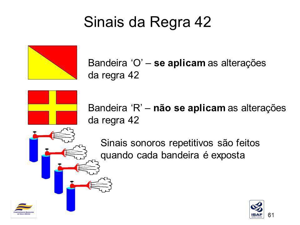 61 Sinais da Regra 42 Bandeira O – se aplicam as alterações da regra 42 Bandeira R – não se aplicam as alterações da regra 42 Sinais sonoros repetitiv