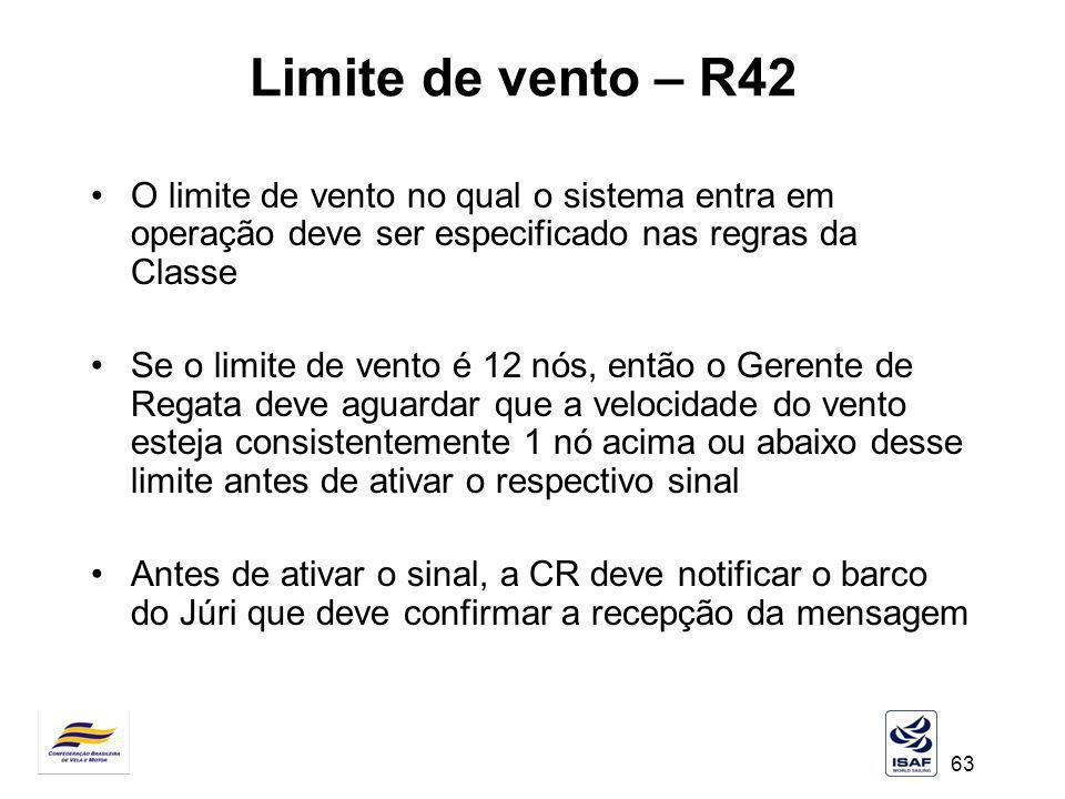 63 Limite de vento – R42 O limite de vento no qual o sistema entra em operação deve ser especificado nas regras da Classe Se o limite de vento é 12 nó
