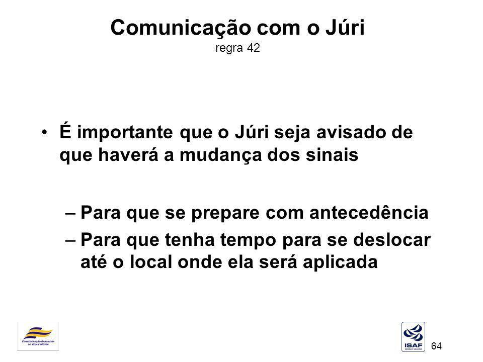 64 Comunicação com o Júri regra 42 É importante que o Júri seja avisado de que haverá a mudança dos sinais –Para que se prepare com antecedência –Para
