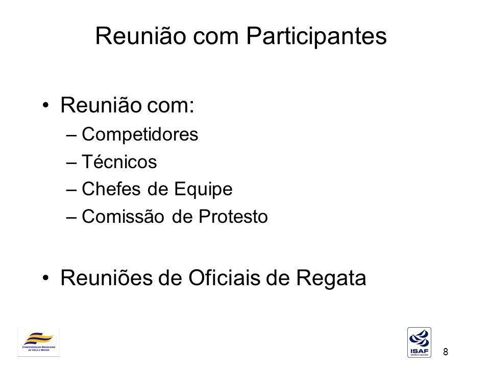 8 Reunião com Participantes Reunião com: –Competidores –Técnicos –Chefes de Equipe –Comissão de Protesto Reuniões de Oficiais de Regata