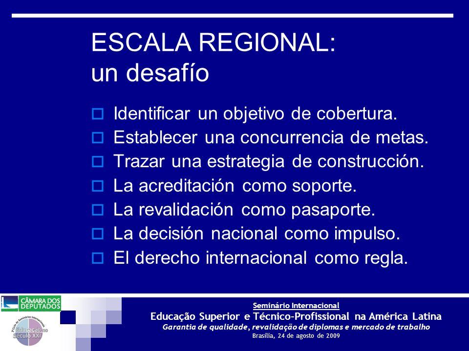Seminário Internacional Educação Superior e Técnico-Profissional na América Latina Garantia de qualidade, revalidação de diplomas e mercado de trabalho Brasília, 24 de agosto de 2009 ESCALA REGIONAL: un desafío Identificar un objetivo de cobertura.