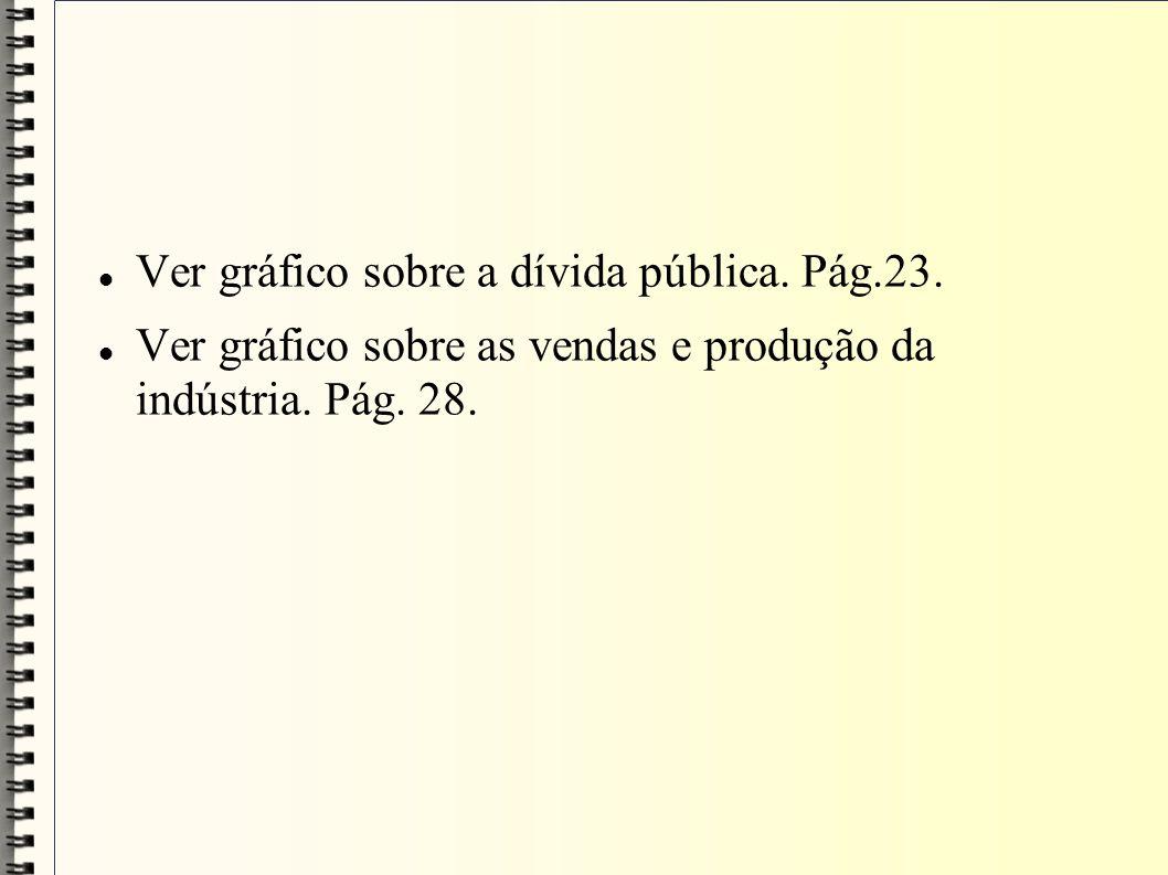 Ver gráfico sobre a dívida pública. Pág.23. Ver gráfico sobre as vendas e produção da indústria. Pág. 28.